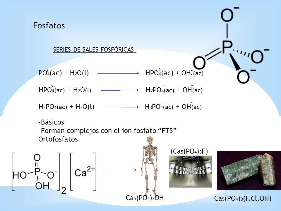 Fosfatos SERIES DE SALES FOSFÓRICAS PO 4 (ac) + H 2 O(l) HPO 4 (ac) + OH (ac) HPO 4 (ac) + H 2 O (l) H 2 PO 4 (ac) + OH (ac) H 2 PO 4 (ac) + H 2 O(l)