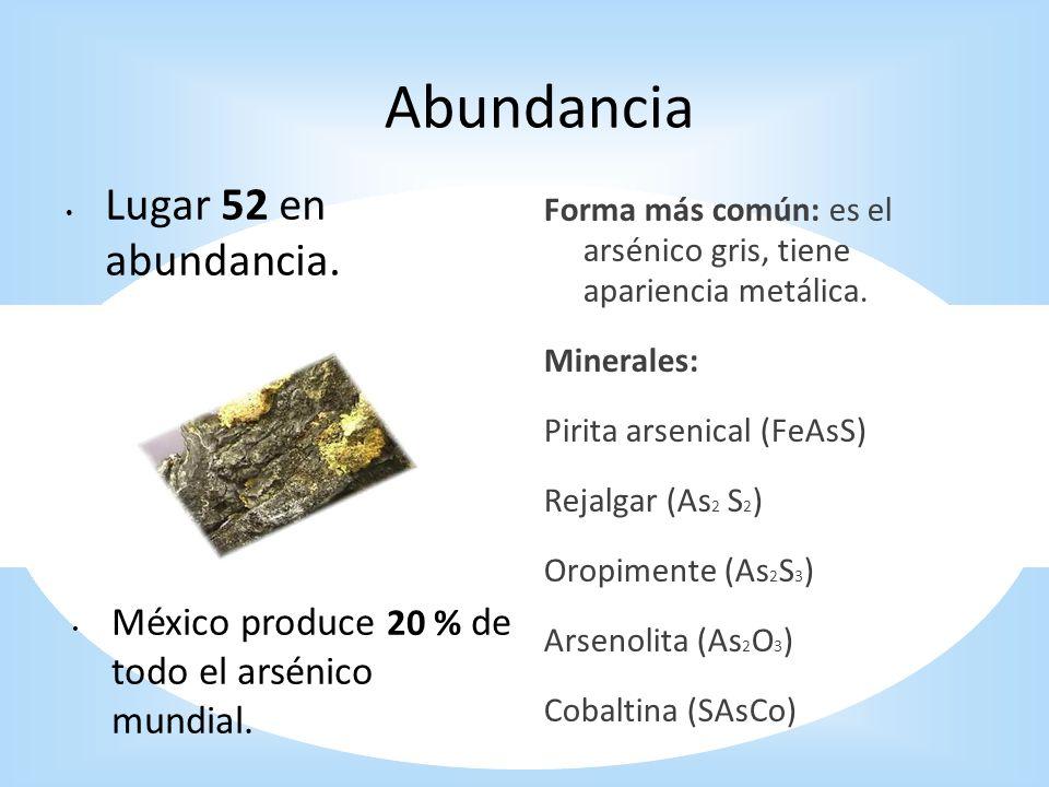 Abundancia Lugar 52 en abundancia. Forma más común: es el arsénico gris, tiene apariencia metálica. Minerales: Pirita arsenical (FeAsS) Rejalgar (As 2
