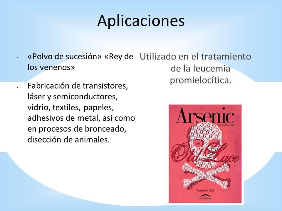 Aplicaciones «Polvo de sucesión» «Rey de los venenos» Fabricación de transistores, láser y semiconductores, vidrio, textiles, papeles, adhesivos de me
