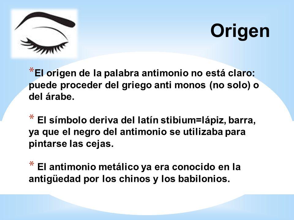 Origen * El origen de la palabra antimonio no está claro: puede proceder del griego anti monos (no solo) o del árabe. * El símbolo deriva del latín st