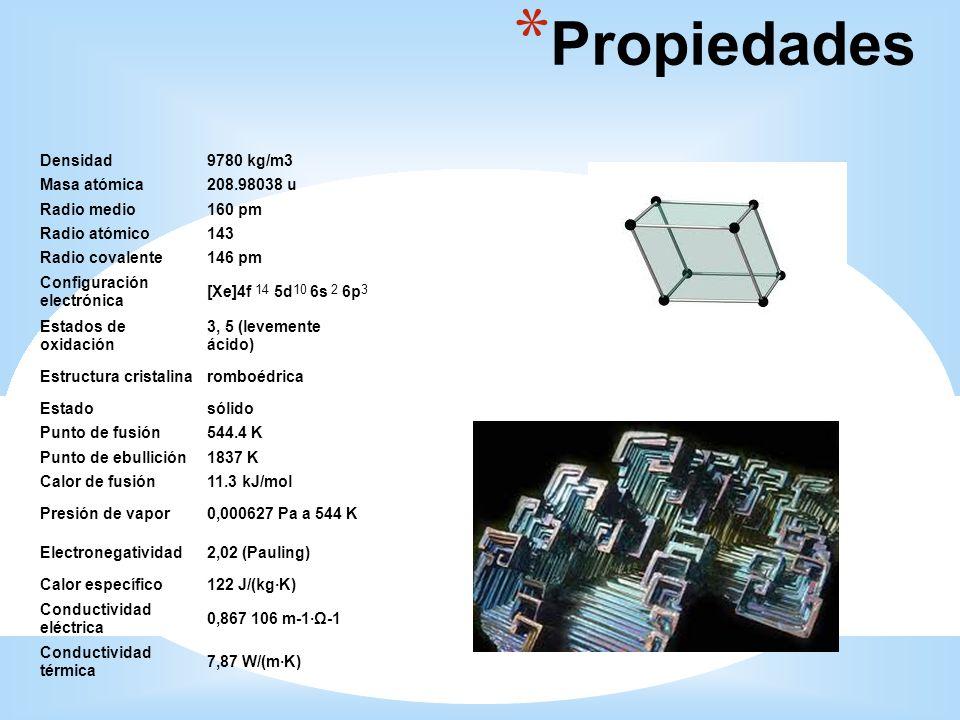 * Propiedades Densidad9780 kg/m3 Masa atómica208.98038 u Radio medio160 pm Radio atómico143 Radio covalente146 pm Configuración electrónica [Xe]4f 5d
