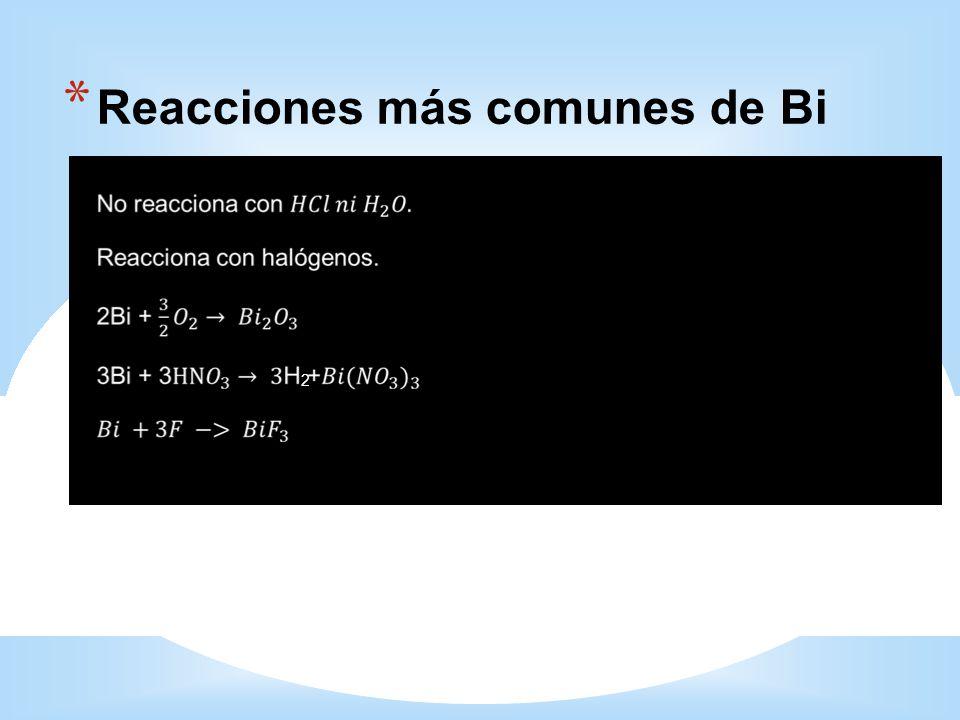 * Reacciones más comunes de Bi 2