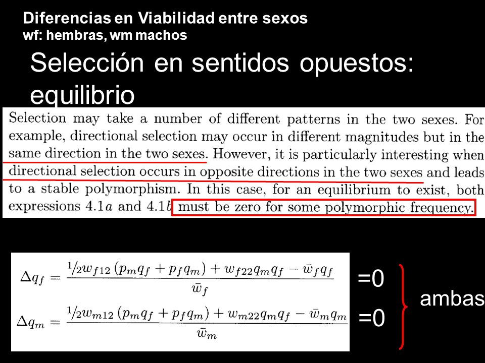 Negative assortative mating: álgebra... el cambio en p se obtiene de la tabla