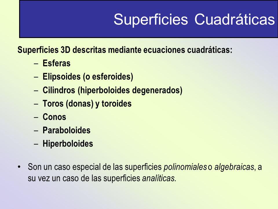 Superficies Cuadráticas Superficies 3D descritas mediante ecuaciones cuadráticas: – Esferas – Elipsoides (o esferoides) – Cilindros (hiperboloides deg