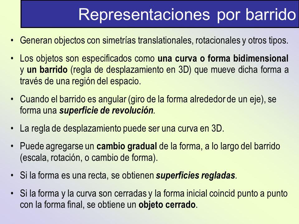 Representaciones por barrido Generan objectos con simetrías translationales, rotacionales y otros tipos. Los objetos son especificados como una curva