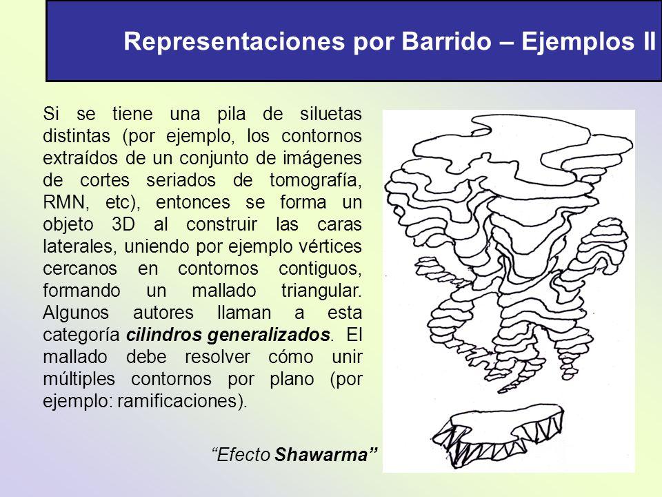 Representaciones por Barrido – Ejemplos II Si se tiene una pila de siluetas distintas (por ejemplo, los contornos extraídos de un conjunto de imágenes