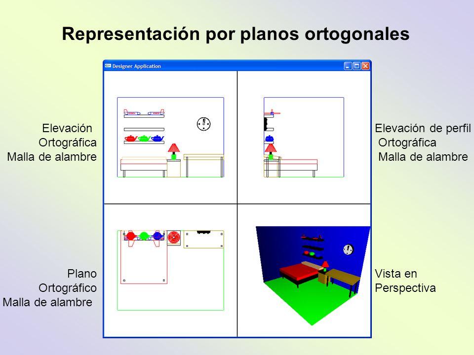 Elevación Ortográfica Malla de alambre Plano Ortográfico Malla de alambre Elevación de perfil Ortográfica Malla de alambre Vista en Perspectiva Repres
