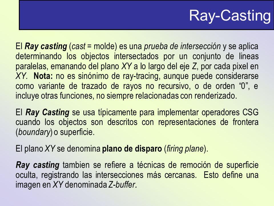 Ray-Casting El Ray casting ( cast = molde) es una prueba de intersección y se aplica determinando los objectos intersectados por un conjunto de lineas
