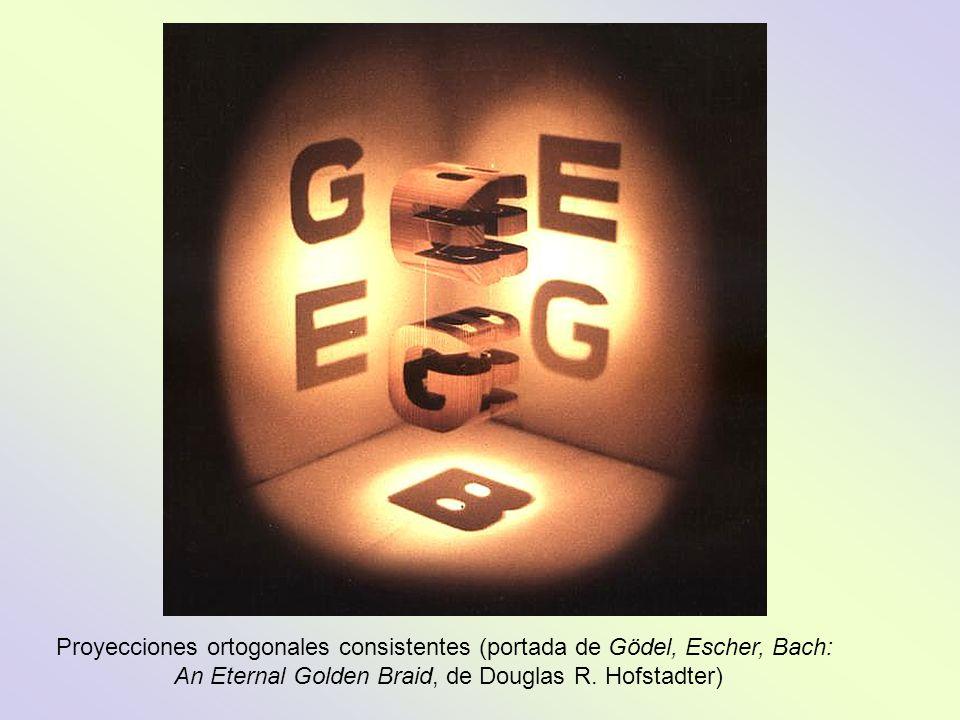 Proyecciones ortogonales consistentes (portada de Gödel, Escher, Bach: An Eternal Golden Braid, de Douglas R. Hofstadter)