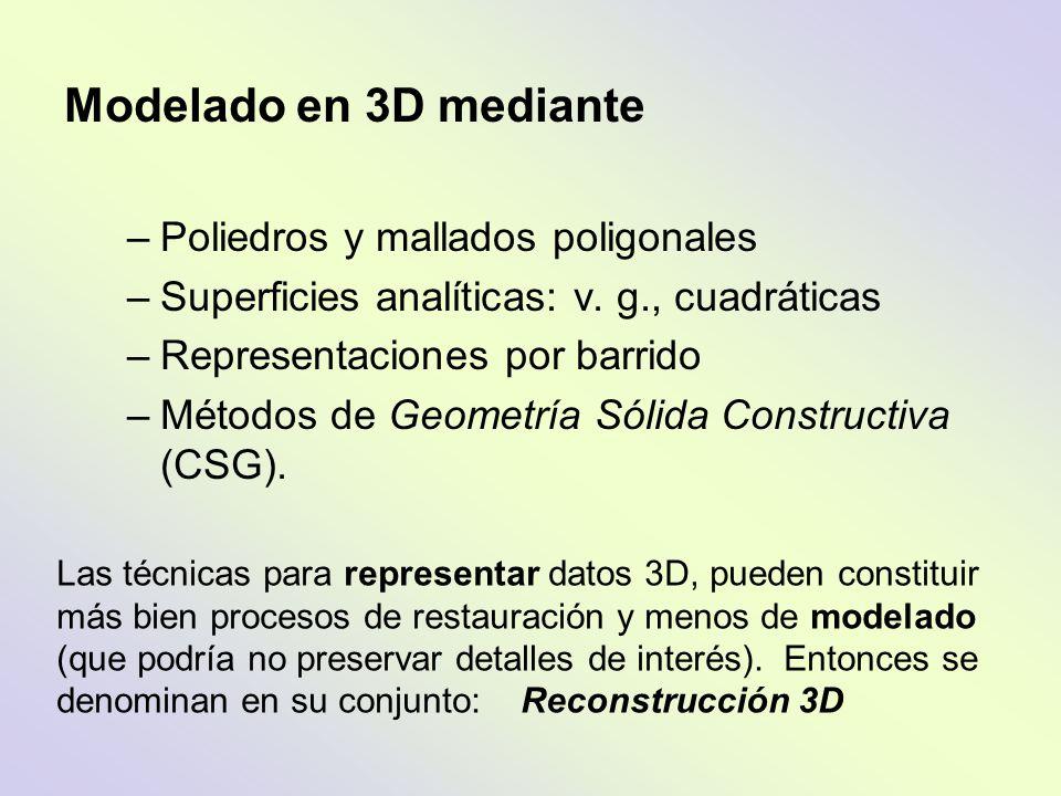 Modelado en 3D mediante –Poliedros y mallados poligonales –Superficies analíticas: v. g., cuadráticas –Representaciones por barrido –Métodos de Geomet