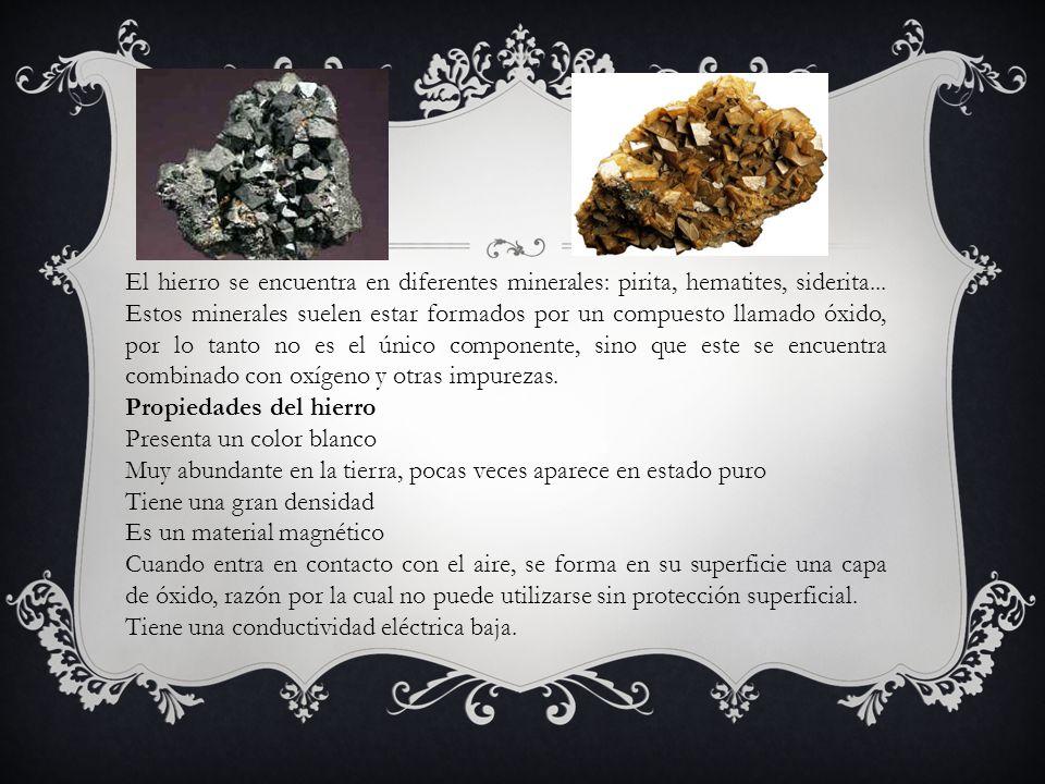 El hierro se encuentra en diferentes minerales: pirita, hematites, siderita... Estos minerales suelen estar formados por un compuesto llamado óxido, p