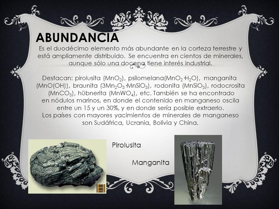 ABUNDANCIA Es el duodécimo elemento más abundante en la corteza terrestre y está ampliamente distribuido. Se encuentra en cientos de minerales, aunque