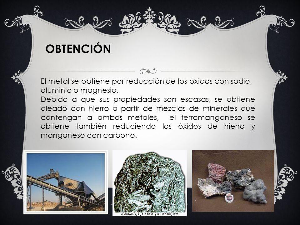 El metal se obtiene por reducción de los óxidos con sodio, aluminio o magnesio. Debido a que sus propiedades son escasas, se obtiene aleado con hierro