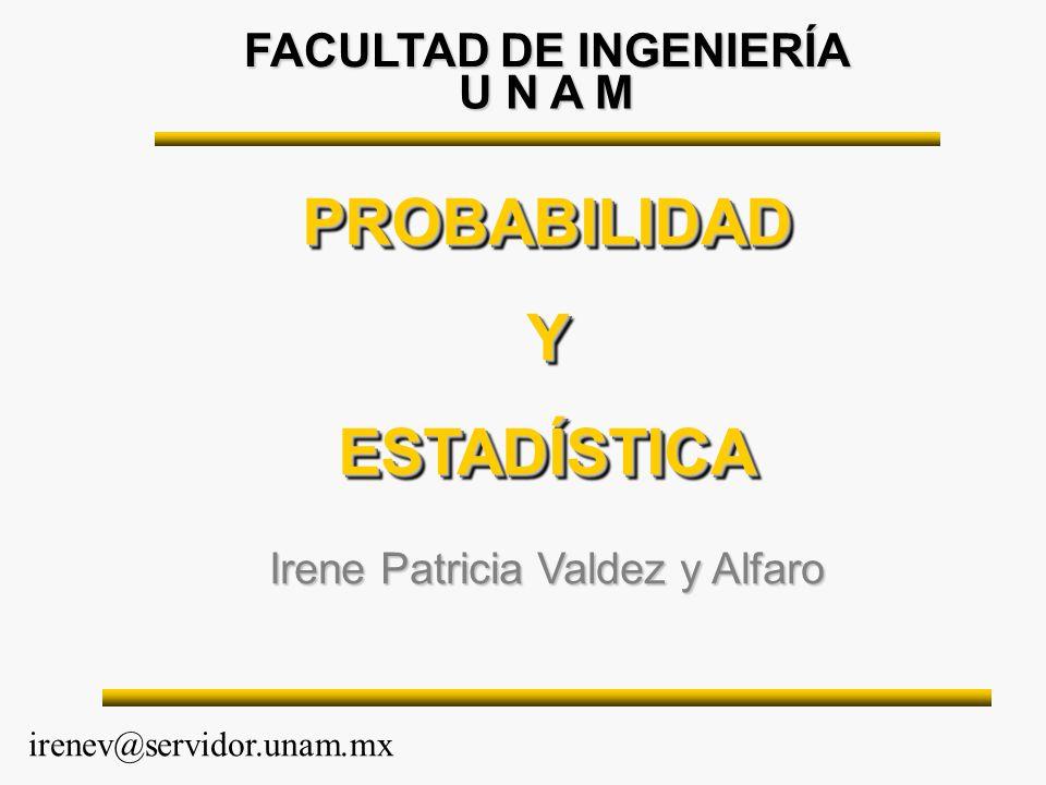 FACULTAD DE INGENIERÍA PROBABILIDADYESTADÍSTICAPROBABILIDADYESTADÍSTICA Irene Patricia Valdez y Alfaro irenev@servidor.unam.mx U N A M