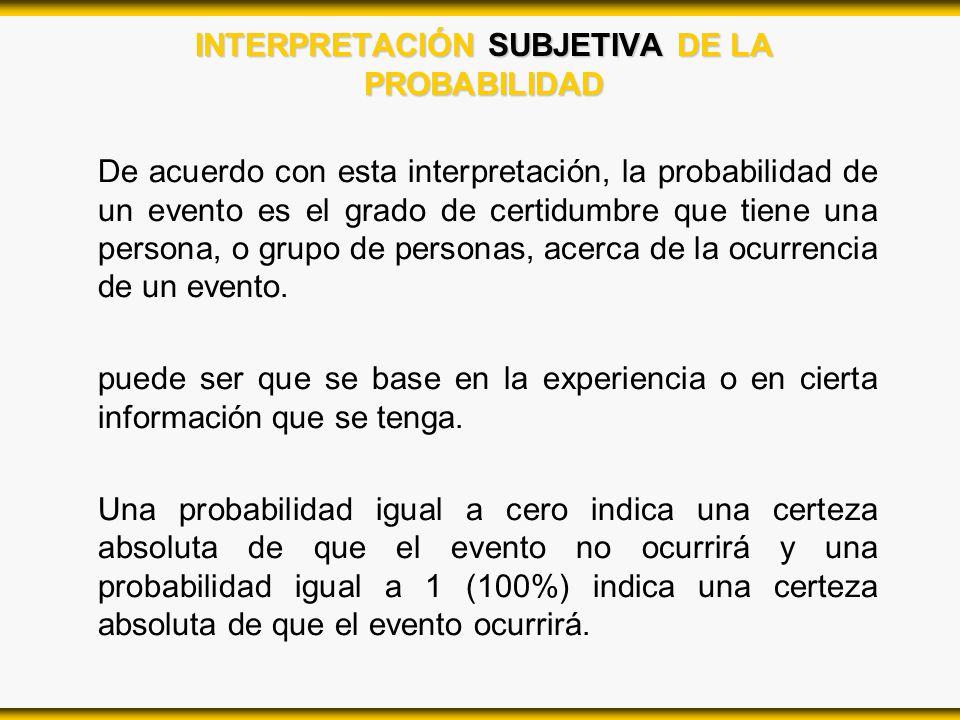 INTERPRETACIÓN SUBJETIVA DE LA PROBABILIDAD De acuerdo con esta interpretación, la probabilidad de un evento es el grado de certidumbre que tiene una
