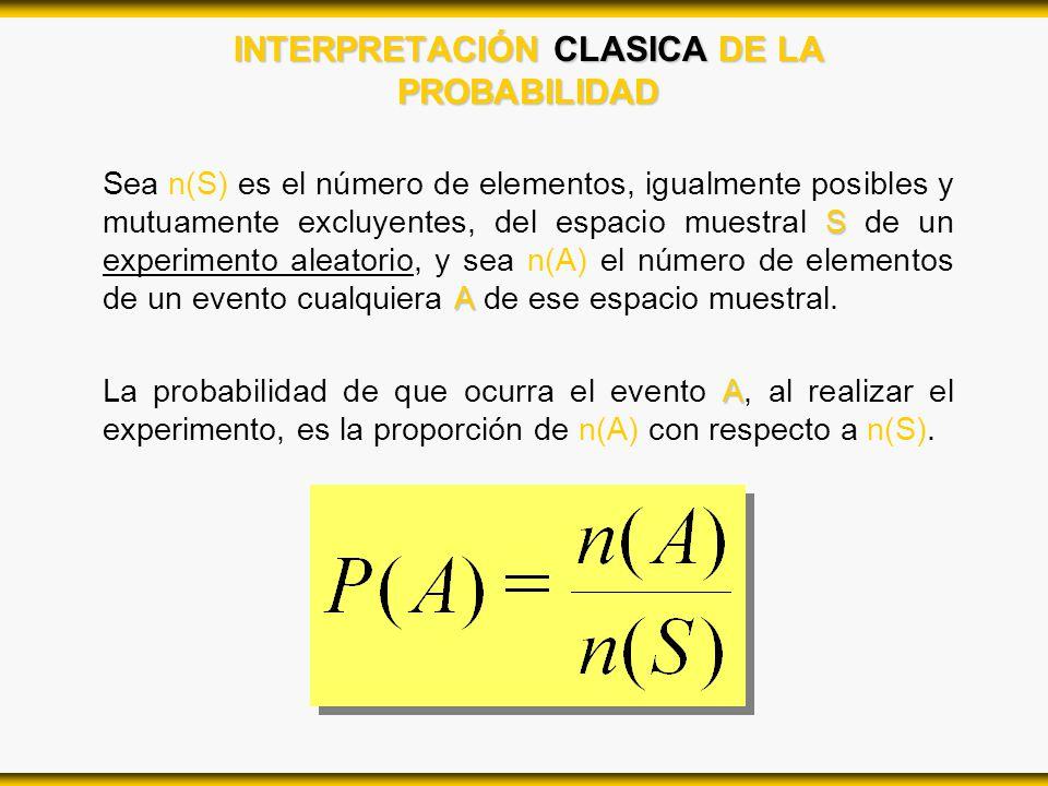 INTERPRETACIÓN CLASICA DE LA PROBABILIDAD S A Sea n(S) es el número de elementos, igualmente posibles y mutuamente excluyentes, del espacio muestral S