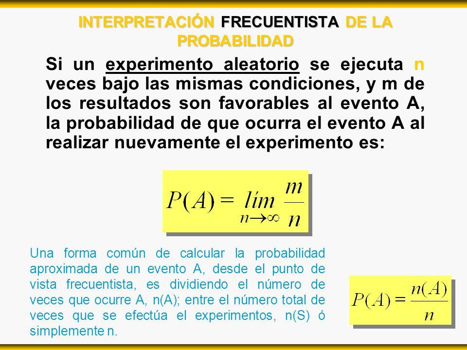 INTERPRETACIÓN FRECUENTISTA DE LA PROBABILIDAD Si un experimento aleatorio se ejecuta n veces bajo las mismas condiciones, y m de los resultados son f