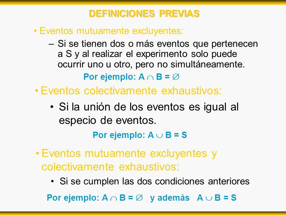 DEFINICIONES PREVIAS Eventos mutuamente excluyentes: –Si se tienen dos o más eventos que pertenecen a S y al realizar el experimento solo puede ocurri