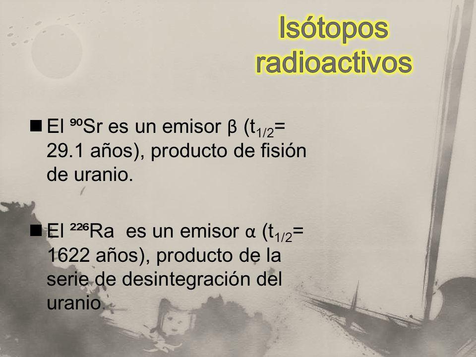 El Sr es un emisor β (t 1/2 = 29.1 años), producto de fisión de uranio. El ²² Ra es un emisor α (t 1/2 = 1622 años), producto de la serie de desintegr