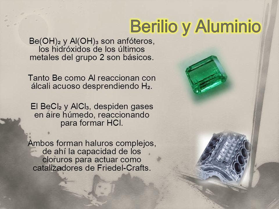 Be(OH) y Al(OH) son anfóteros, los hidróxidos de los últimos metales del grupo 2 son básicos. Tanto Be como Al reaccionan con álcali acuoso desprendie