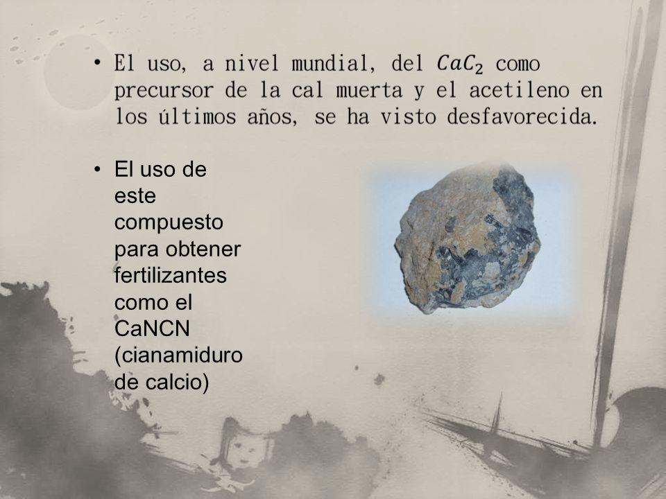 El uso de este compuesto para obtener fertilizantes como el CaNCN (cianamiduro de calcio)
