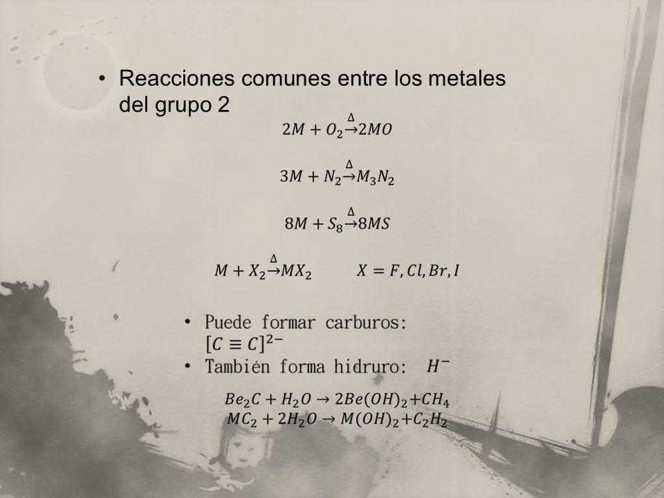 Reacciones comunes entre los metales del grupo 2