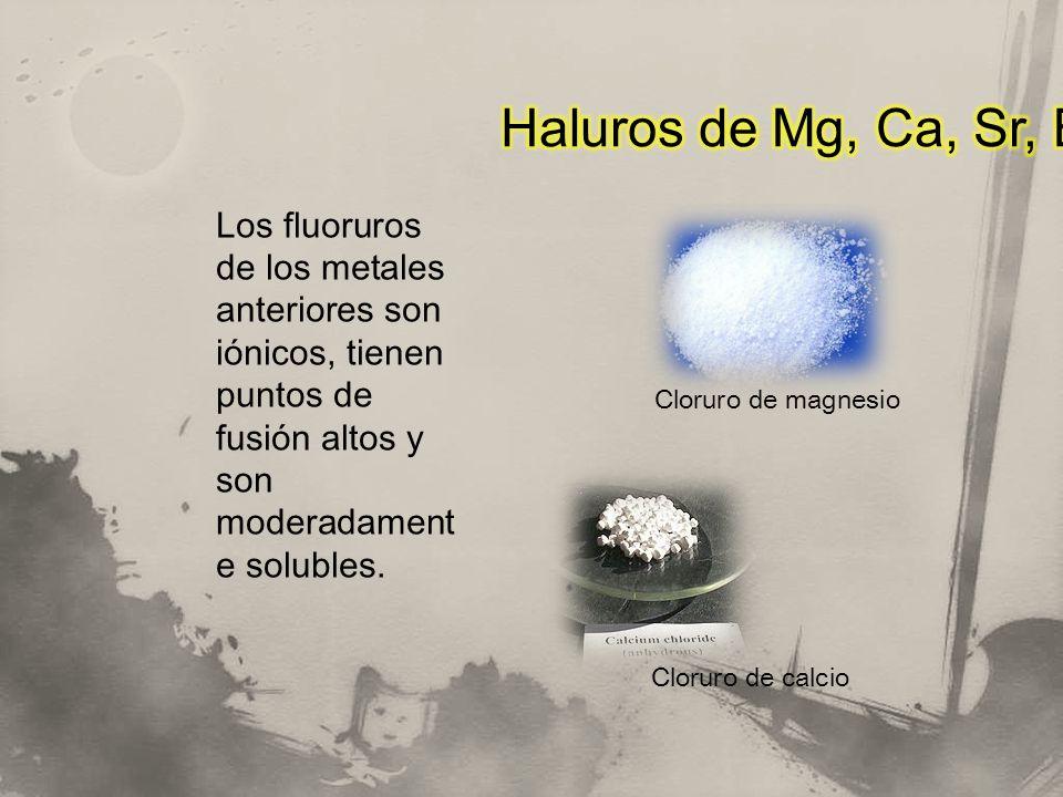 Los fluoruros de los metales anteriores son iónicos, tienen puntos de fusión altos y son moderadament e solubles. Cloruro de magnesio Cloruro de calci