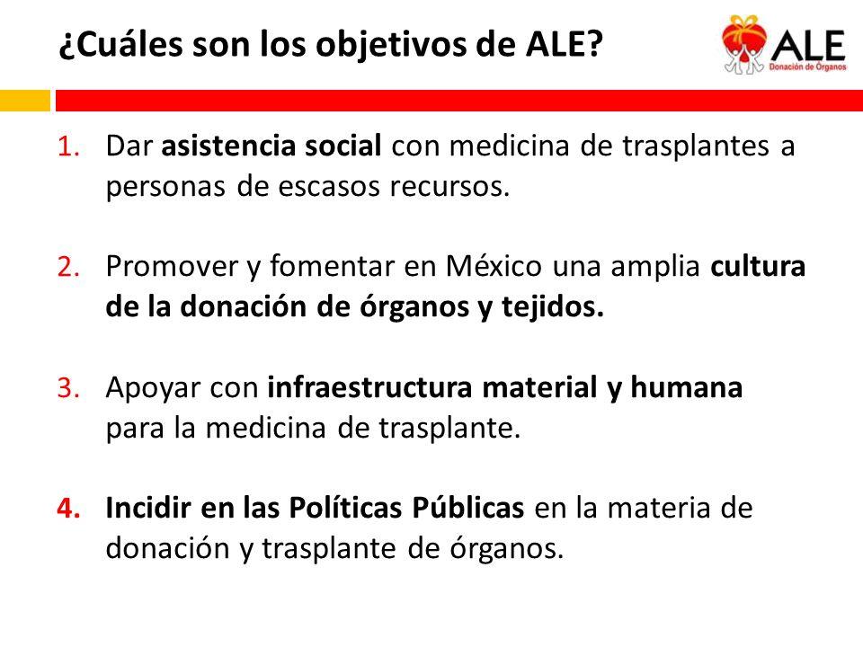 1. Dar asistencia social con medicina de trasplantes a personas de escasos recursos. 2. Promover y fomentar en México una amplia cultura de la donació