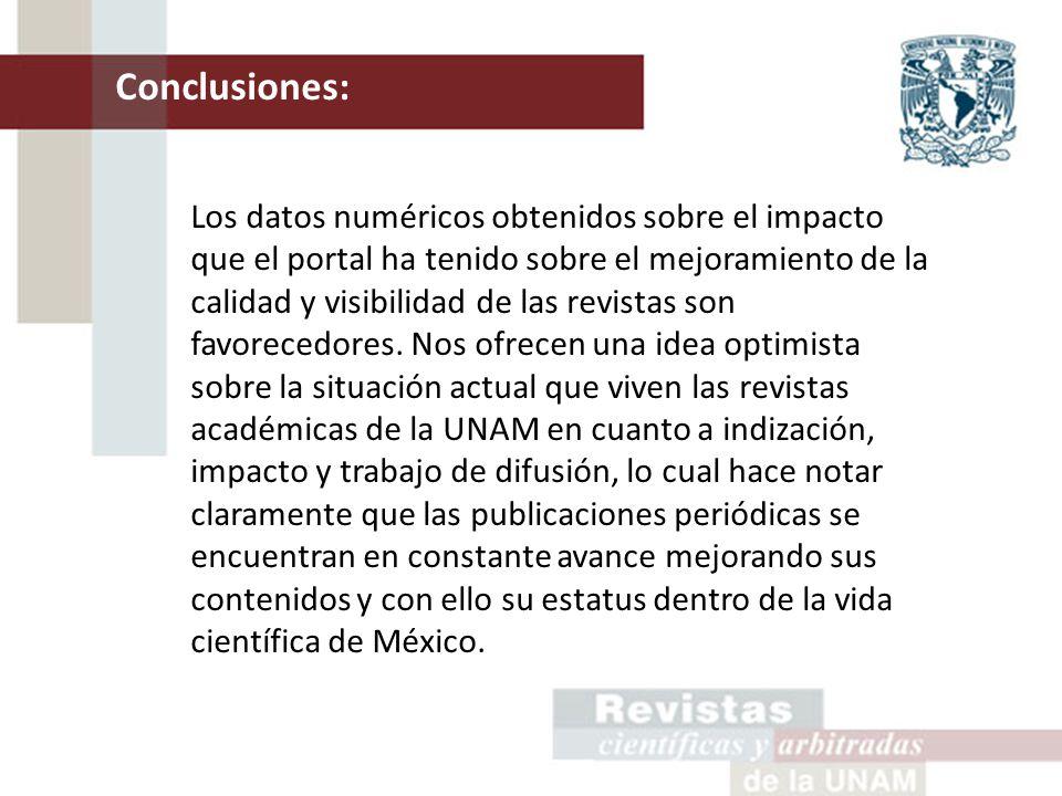 Conclusiones: Los datos numéricos obtenidos sobre el impacto que el portal ha tenido sobre el mejoramiento de la calidad y visibilidad de las revistas son favorecedores.