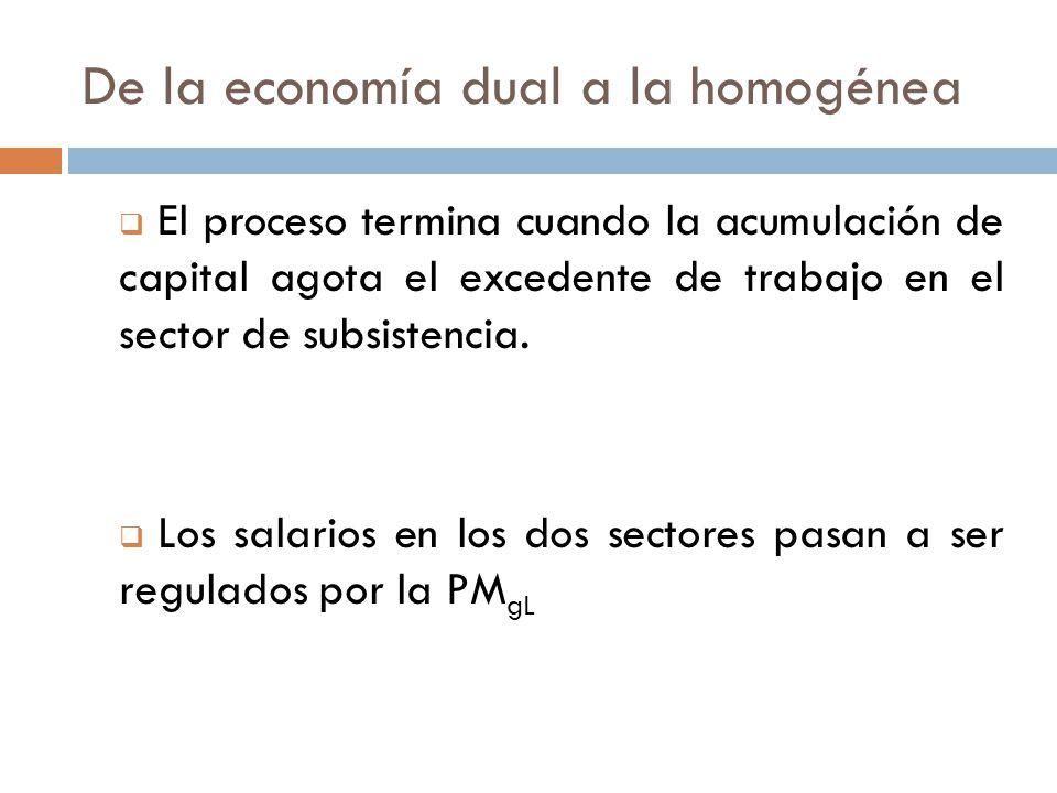 De la economía dual a la homogénea El proceso termina cuando la acumulación de capital agota el excedente de trabajo en el sector de subsistencia. Los