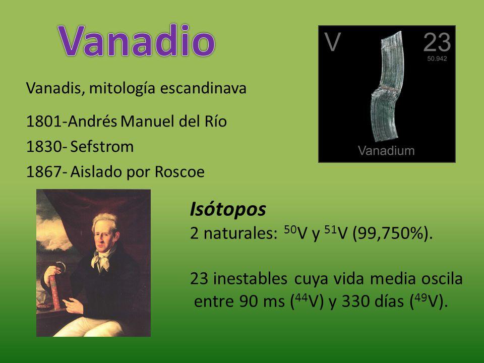 Vanadis, mitología escandinava 1801-Andrés Manuel del Río 1830- Sefstrom 1867- Aislado por Roscoe Isótopos 2 naturales: 50 V y 51 V (99,750%). 23 ines
