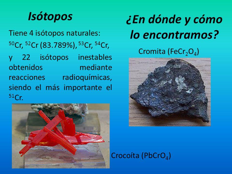 Tiene 4 isótopos naturales: 50 Cr, 52 Cr (83.789%), 53 Cr, 54 Cr, y 22 isótopos inestables obtenidos mediante reacciones radioquímicas, siendo el más