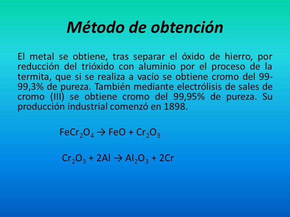 Método de obtención El metal se obtiene, tras separar el óxido de hierro, por reducción del trióxido con aluminio por el proceso de la termita, que si