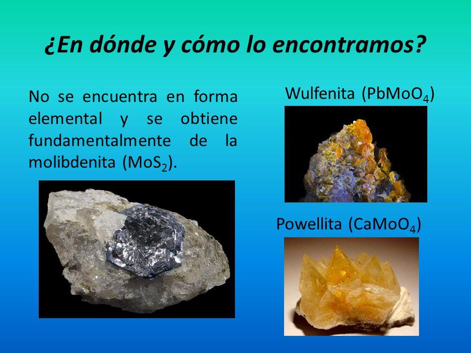 No se encuentra en forma elemental y se obtiene fundamentalmente de la molibdenita (MoS 2 ). ¿En dónde y cómo lo encontramos? Wulfenita (PbMoO 4 ) Pow