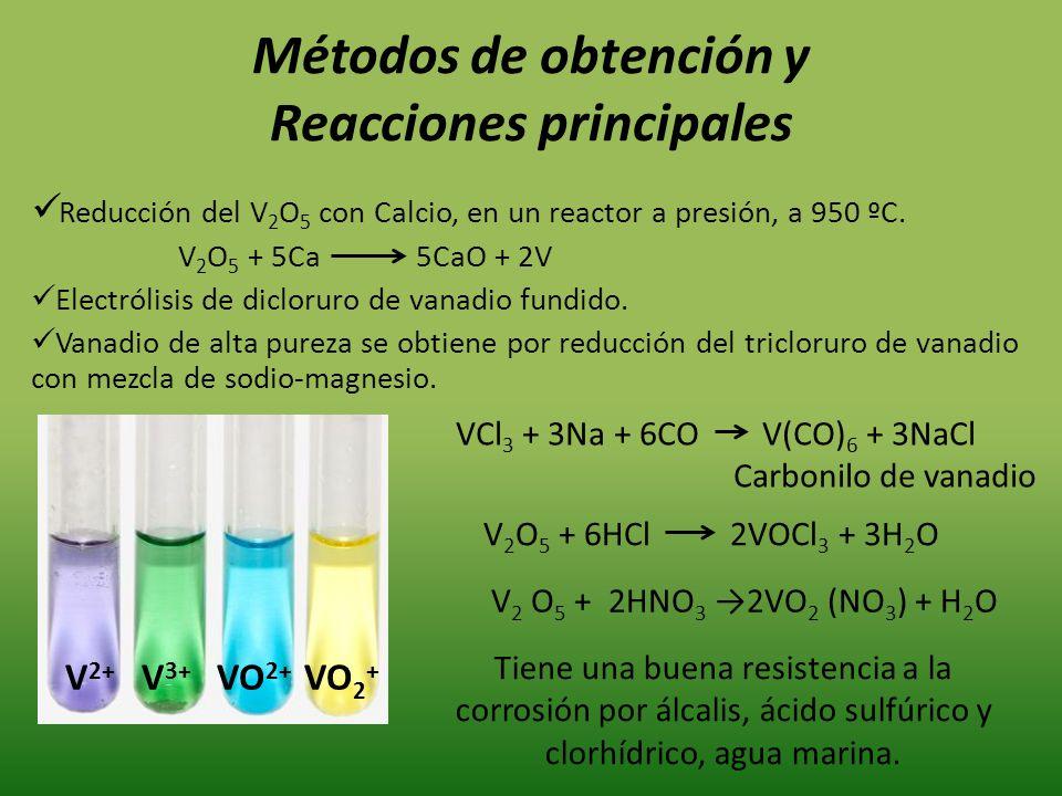 Métodos de obtención y Reacciones principales Reducción del V 2 O 5 con Calcio, en un reactor a presión, a 950 ºC. V 2 O 5 + 5Ca 5CaO + 2V Electrólisi