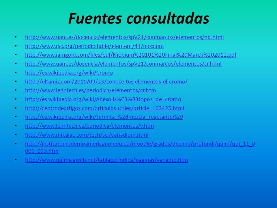 http://www.uam.es/docencia/elementos/spV21/conmarcos/elementos/nb.html http://www.rsc.org/periodic-table/element/41/niobium http://www.iamgold.com/fil