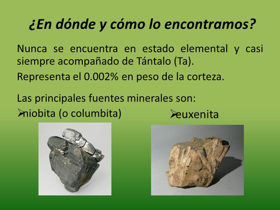 Nunca se encuentra en estado elemental y casi siempre acompañado de Tántalo (Ta). Representa el 0.002% en peso de la corteza. Las principales fuentes