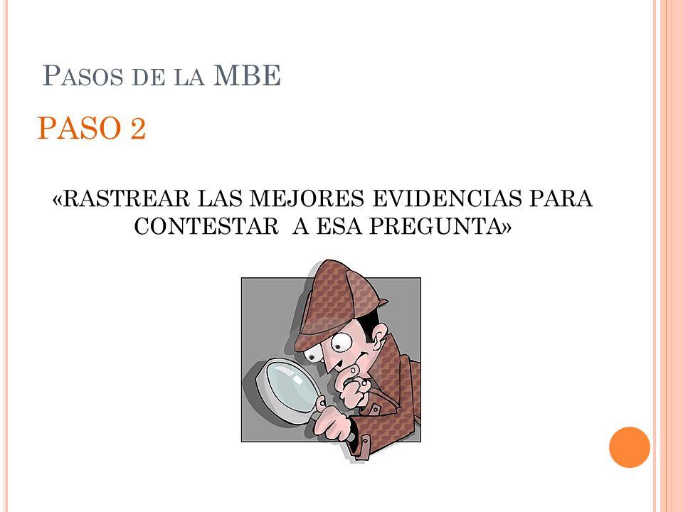 P ASOS DE LA MBE PASO 2 «RASTREAR LAS MEJORES EVIDENCIAS PARA CONTESTAR A ESA PREGUNTA»