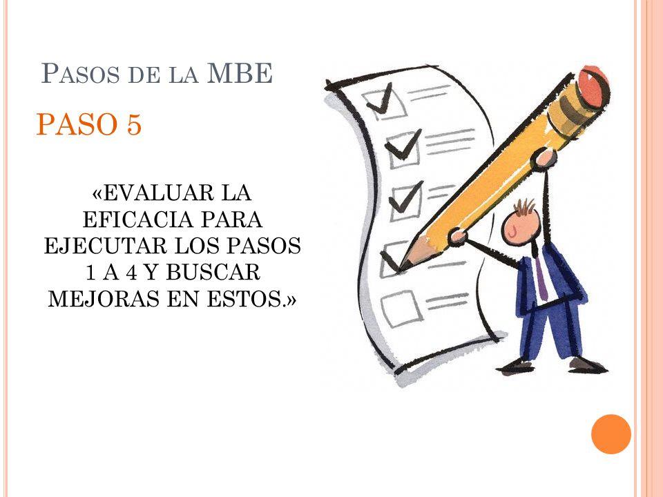 P ASOS DE LA MBE PASO 5 «EVALUAR LA EFICACIA PARA EJECUTAR LOS PASOS 1 A 4 Y BUSCAR MEJORAS EN ESTOS.»