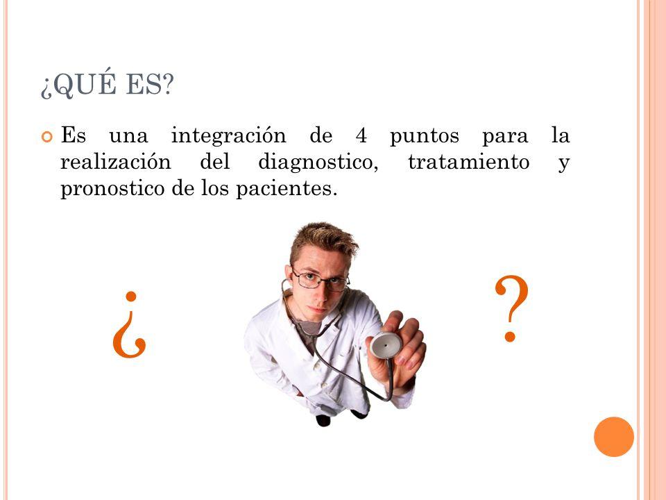 ¿QUÉ ES? Es una integración de 4 puntos para la realización del diagnostico, tratamiento y pronostico de los pacientes. ¿?