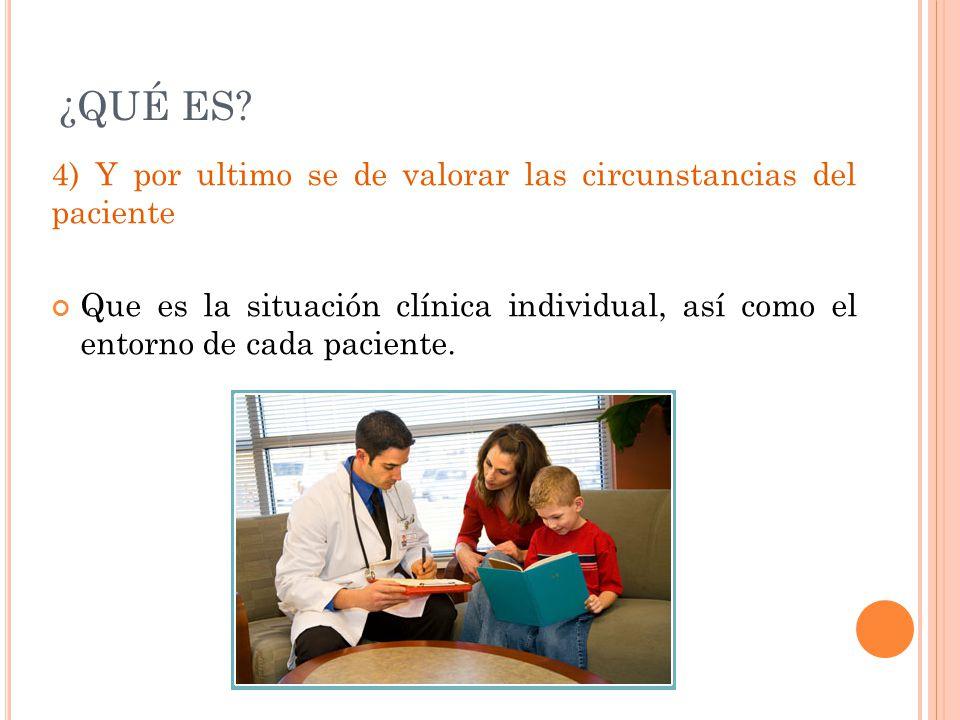 ¿QUÉ ES? 4) Y por ultimo se de valorar las circunstancias del paciente Que es la situación clínica individual, así como el entorno de cada paciente.