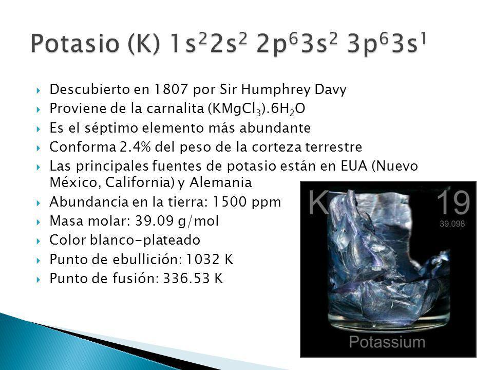 Descubierto en 1807 por Sir Humphrey Davy Proviene de la carnalita (KMgCl 3 ).6H 2 O Es el séptimo elemento más abundante Conforma 2.4% del peso de la