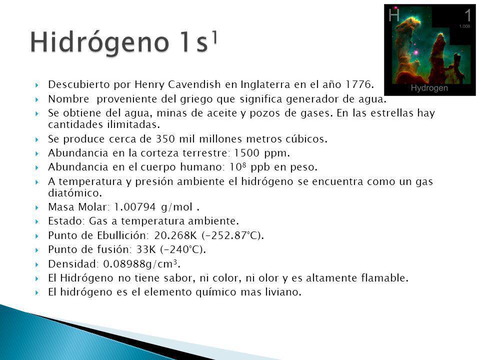 Descubierto por Henry Cavendish en Inglaterra en el año 1776. Nombre proveniente del griego que significa generador de agua. Se obtiene del agua, mina