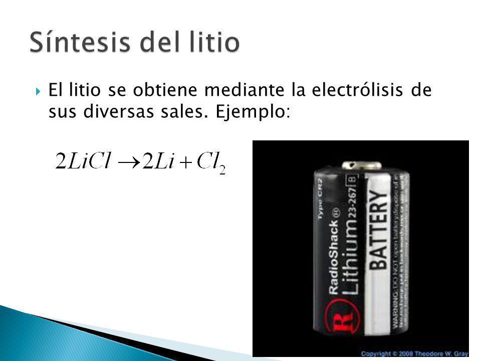 El litio se obtiene mediante la electrólisis de sus diversas sales. Ejemplo: