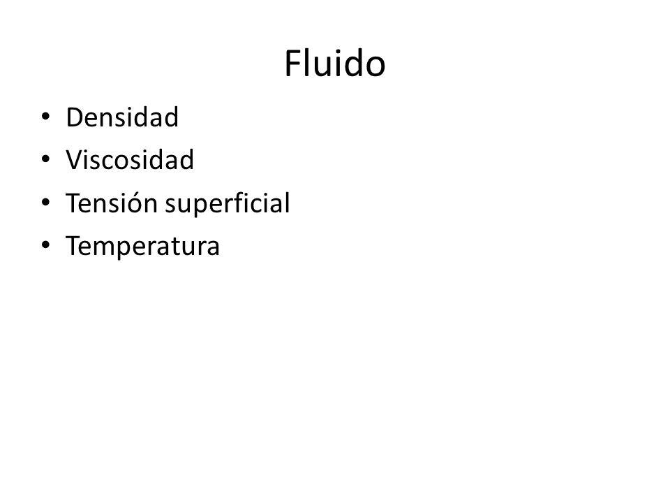 Densidad Viscosidad Tensión superficial Temperatura