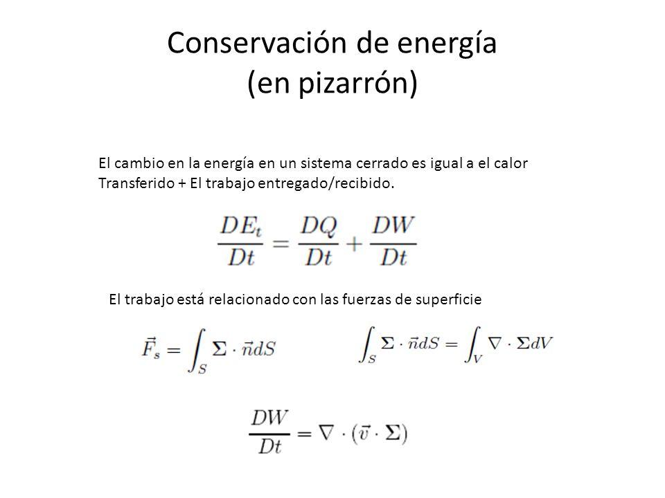 Conservación de energía (en pizarrón) El cambio en la energía en un sistema cerrado es igual a el calor Transferido + El trabajo entregado/recibido. E