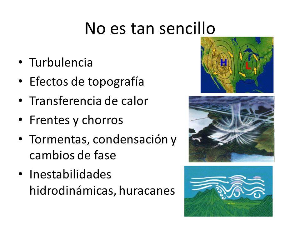 No es tan sencillo Turbulencia Efectos de topografía Transferencia de calor Frentes y chorros Tormentas, condensación y cambios de fase Inestabilidades hidrodinámicas, huracanes