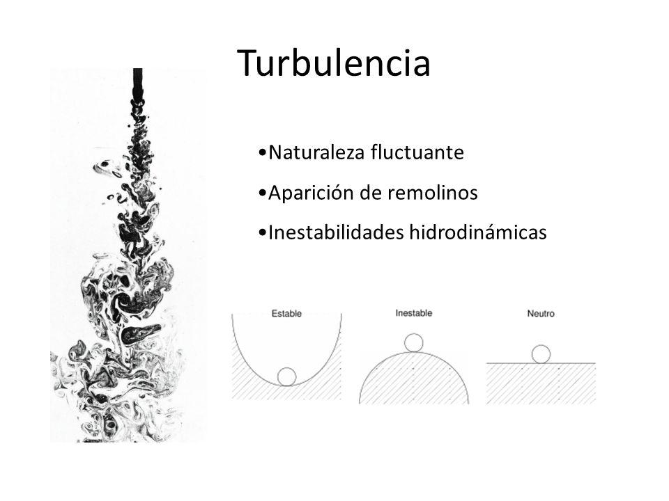 Turbulencia Naturaleza fluctuante Aparición de remolinos Inestabilidades hidrodinámicas