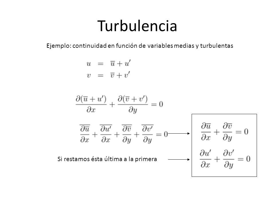 Turbulencia Ejemplo: continuidad en función de variables medias y turbulentas Si restamos ésta última a la primera