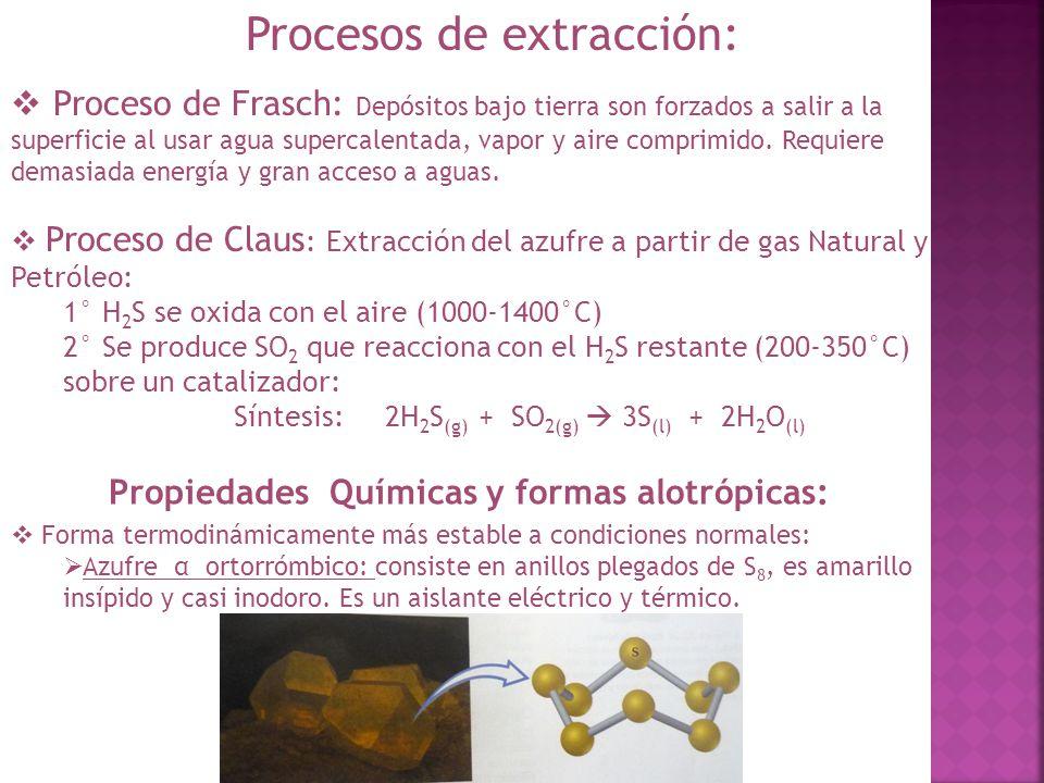 Procesos de extracción: Proceso de Frasch: Depósitos bajo tierra son forzados a salir a la superficie al usar agua supercalentada, vapor y aire compri